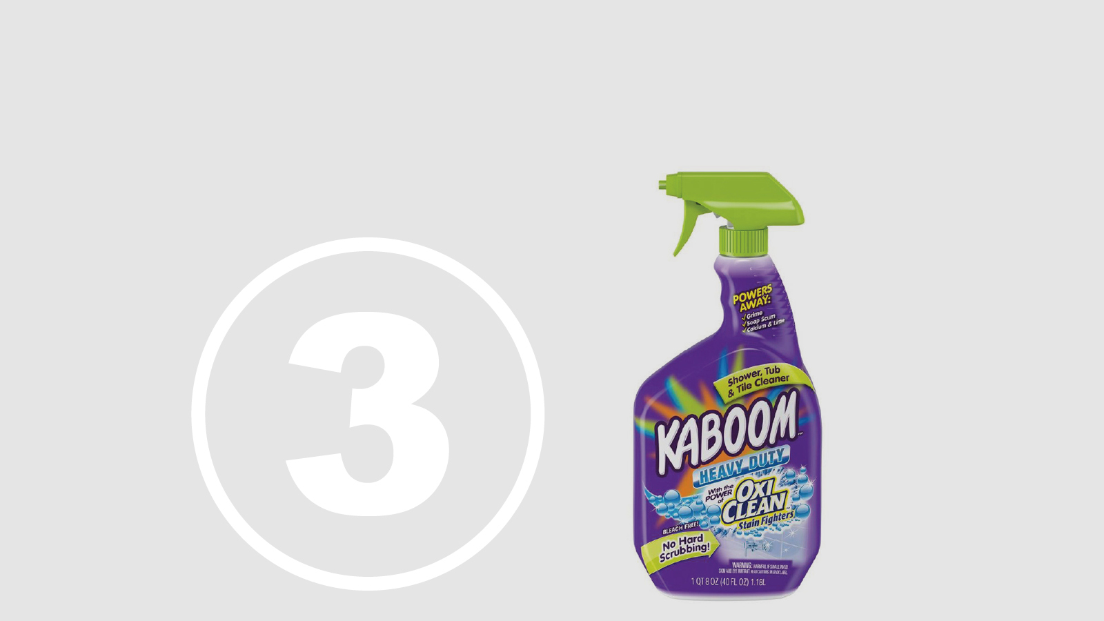 "<h5>Top Ten Most Hazardous Products</h5><h4>Kaboom with OxiClean Shower Tub & Tile Cleaner</h4><p>Marketed as a ""great cleaner that is safe and friendly to use,"" made by Church & Dwight Co.<br />We found <span class=""highlight"">15 chemicals</span> chemicals linked to chronic health effects with <span class=""highlight"">66.7% hidden in ""fragrance.""</span></p>"